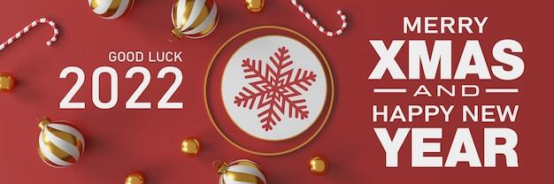 Décorations de noël et bonne année avec une boule en argent doré et une étoile dorée sur fond rouge. illustration 3d