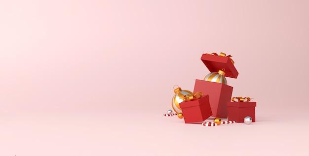 Décorations de noël et bonne année sur fond rouge
