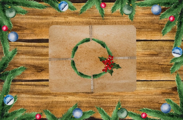 Décorations de noël lumineuses sur une surface en bois texturée. gros plan, pas de monde. peintures à l'aquarelle. vue d'en-haut.