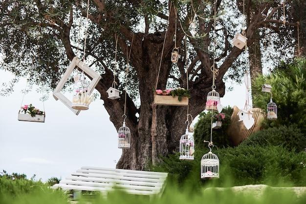 Décorations vintage de mariage avec des cages blanches décoratives, des fleurs et des cadres photo sur un grand vieil arbre.
