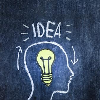 Découpe de papier ampoule jaune dans la tête du contour sur le tableau noir
