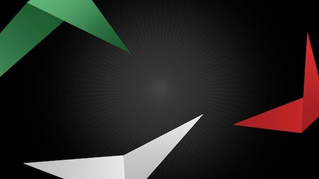 Défiez la forme des triangles rouges et verts sur fond de sport rétro. style d'illustration 3d élégant et luxueux pour le modèle de sport et de publicité