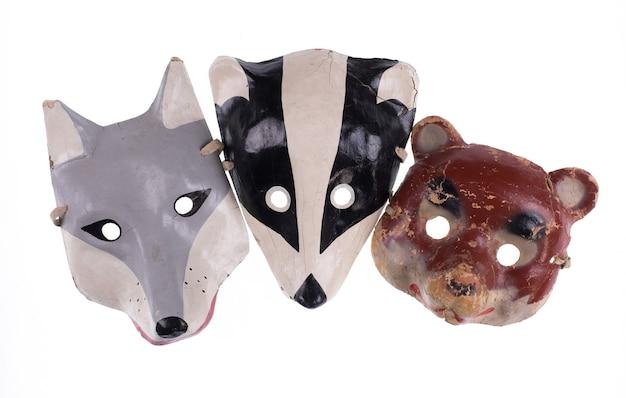 Définir un masque d'animal vintage isolé sur fond blanc