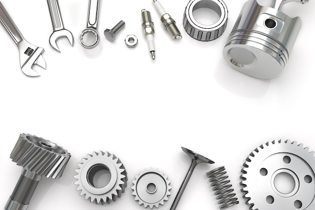 Définir des outils et des engins sur fond blanc
