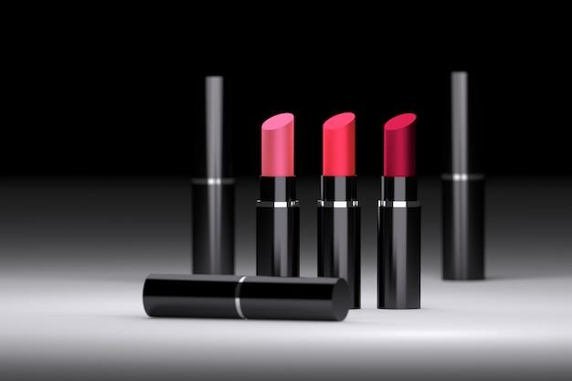 Définir le rouge des rouges à lèvres dans des tubes noirs brillants