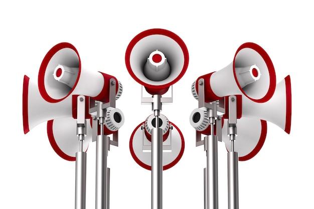 Définissez des mégaphones sur un espace blanc. illustration 3d isolée