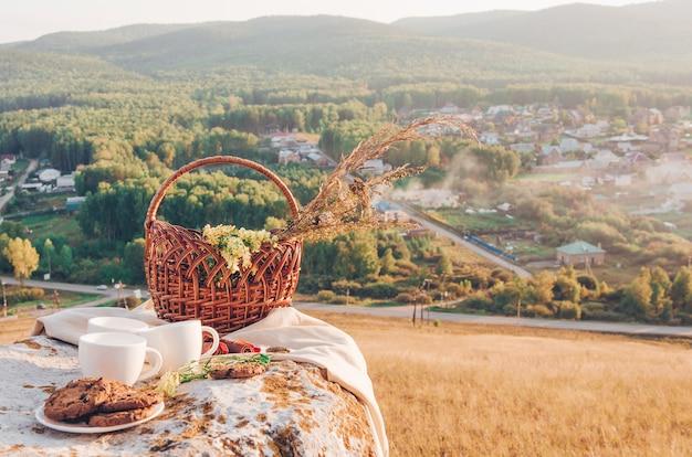 Déjeuner pique-nique avec fond de paysage