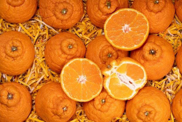 Dekopon oranges avec des feuilles en emballage boîte