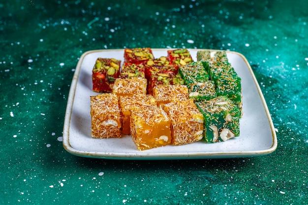 Délice turc traditionnel, bonbons orientaux.