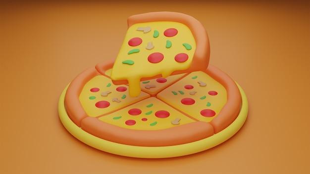 Délicieuse pizza 3d avec garniture supplémentaire