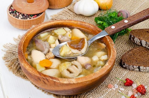 Délicieuse soupe maison aux champignons sauvages. studio photo.