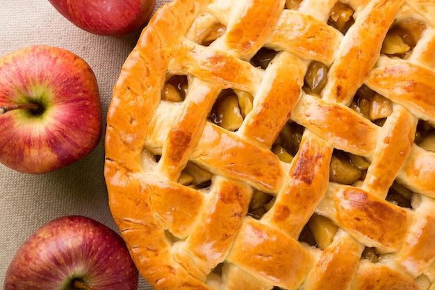 Délicieuse tarte aux pommes, gros plan