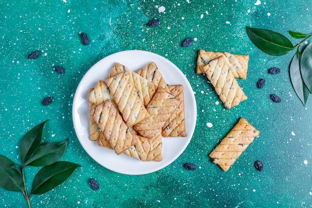Délicieux biscuits aux raisins secs, vue de dessus