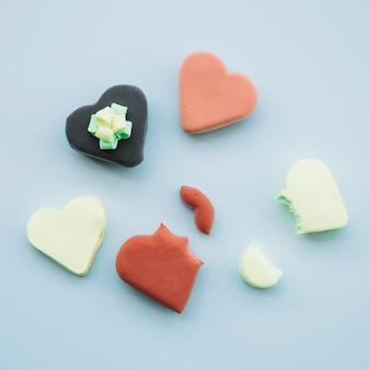 Délicieux biscuits en forme de coeurs