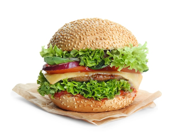 Délicieux burger isolé