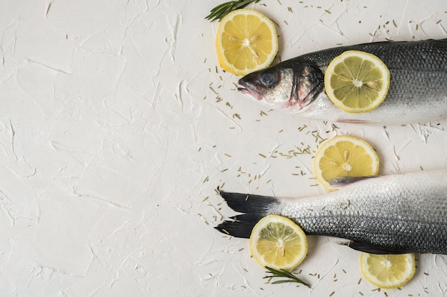 Délicieux cadre de poisson avec des tranches de citron