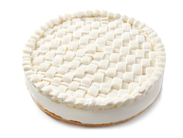 Délicieux cheesecake nature sur fond blanc