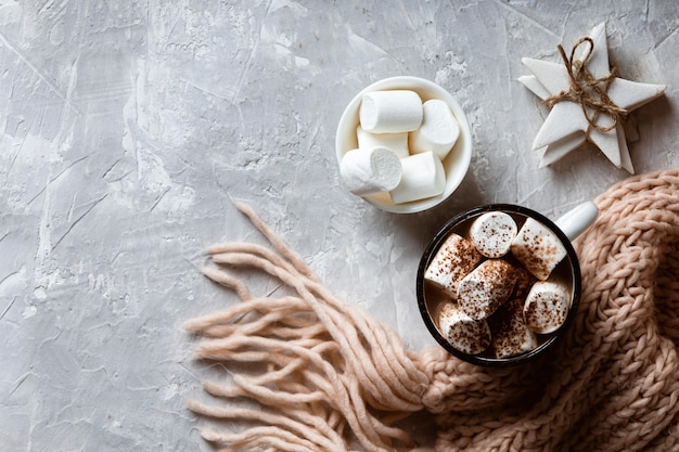 Délicieux concept de chocolat chaud avec espace copie