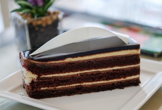 Délicieux gâteau au chocolat sur plaque