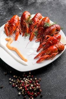 Délicieux homard de fruits de mer vue haute