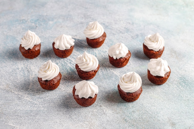 Délicieux mini cupcakes au chocolat.