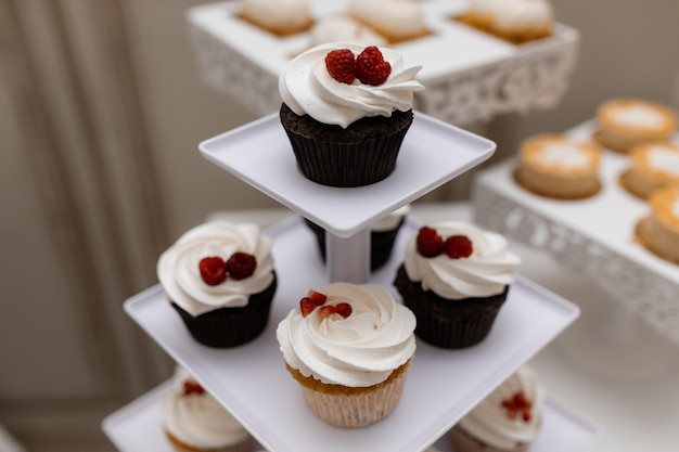 Délicieux petits gâteaux au chocolat avec framboise et crème fouettée sur la barre chocolatée