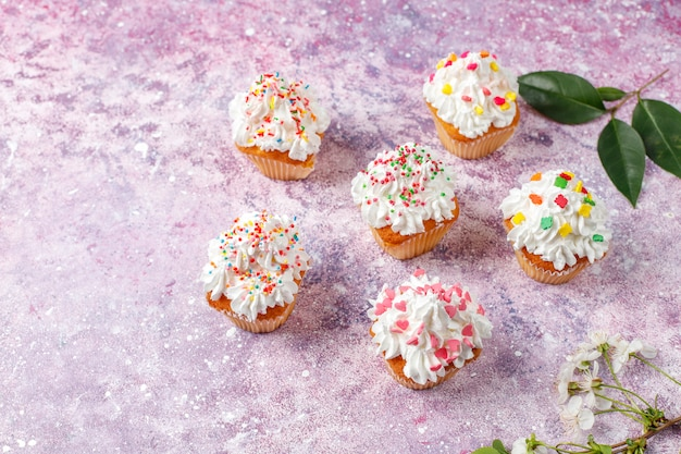 Délicieux petits gâteaux faits maison avec diverses paillettes