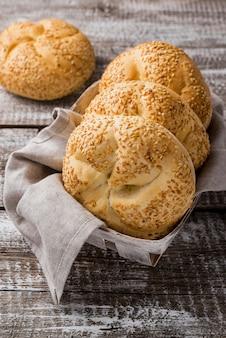 Délicieux petits pains au sésame haute vue