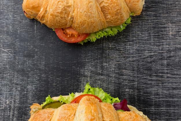 Délicieux sandwichs sains vue de dessus