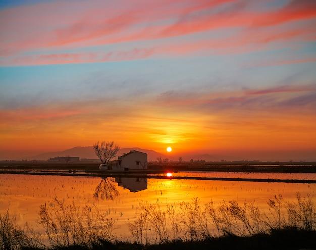Delta del ebro ebre coucher de soleil à deltebre