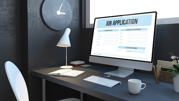 Demande d'emploi au bureau de l'ordinateur dans la maquette de rendu 3d bleu marine