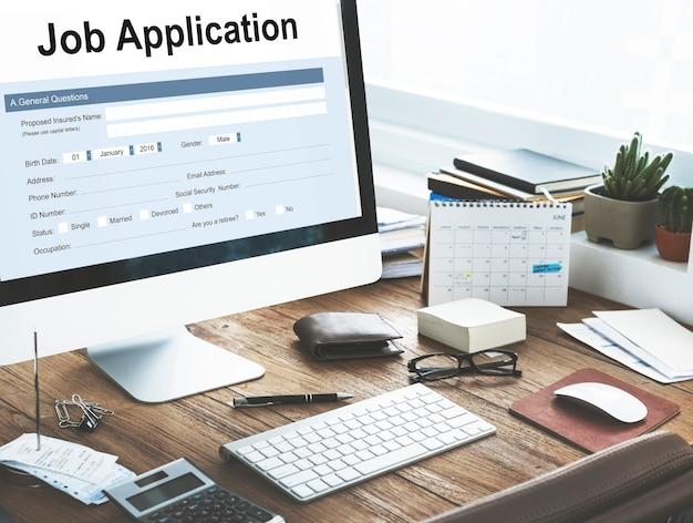 Demande d'emploi formulaire de document d'embauche concept