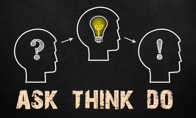 Demandez - pensez - faites. groupe de trois personnes avec point d'interrogation, roues dentées et ampoule sur fond de tableau.