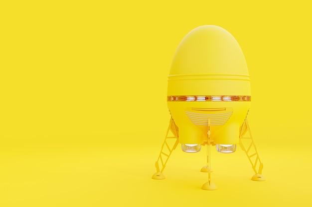 Démarrage et concept minimal rocket jaune