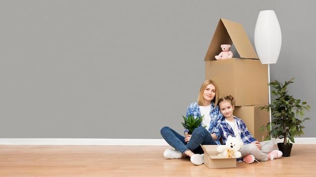 Déménagement d'une famille dans une nouvelle maison