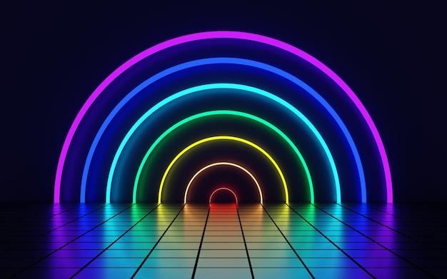 Demi-cercles multicolores sous la forme d'un fond abstrait arc-en-ciel rendu 3d