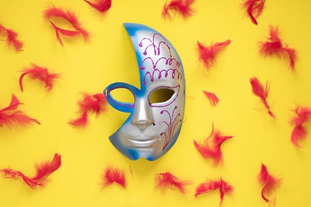 Demi-masque et plumes