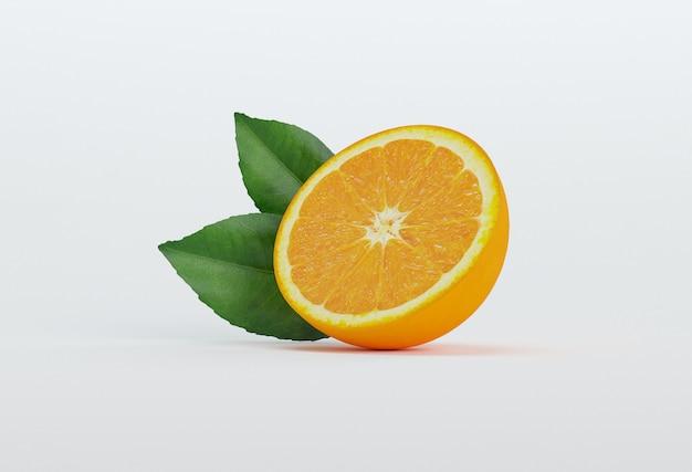 Demi orange avec des feuilles