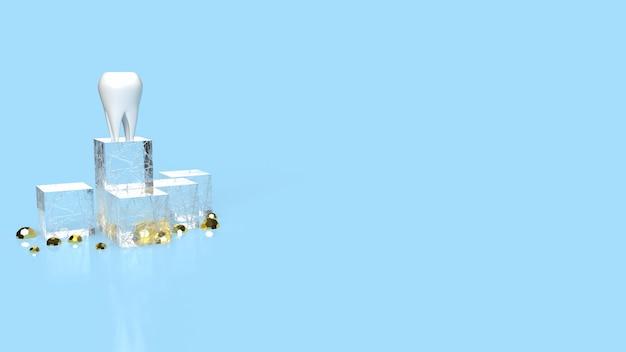La dent blanche sur fond bleu pour le rendu 3d du concept dentaire ou médical