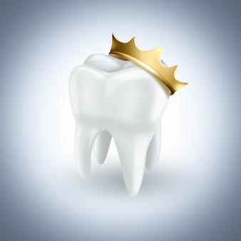 Dent avec couronne d'or sur fond clair