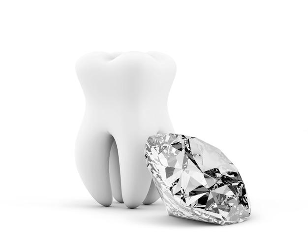 Dent avec diamant sur fond blanc