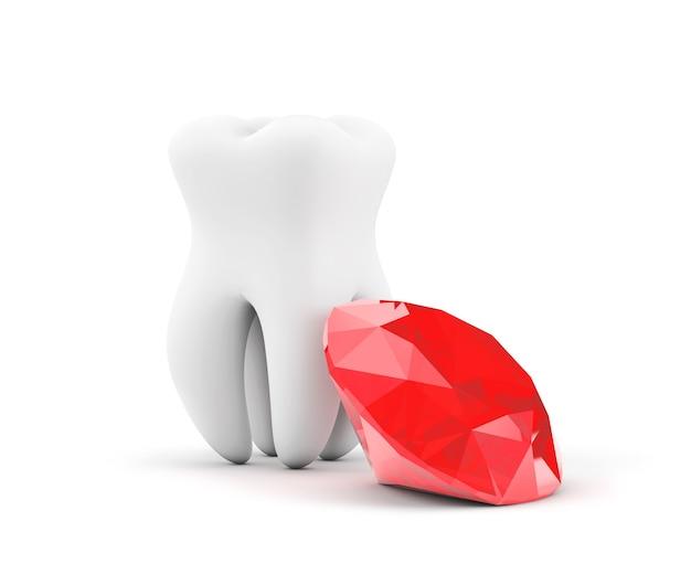 Dent avec diamant rouge sur fond blanc