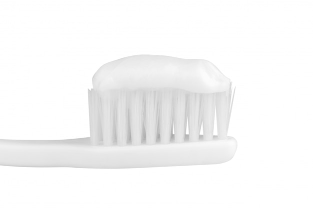 Dentifrice, brosse dents, isolé, blanc