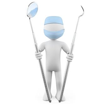 Dentiste debout avec miroir buccal et détartreur parodontal