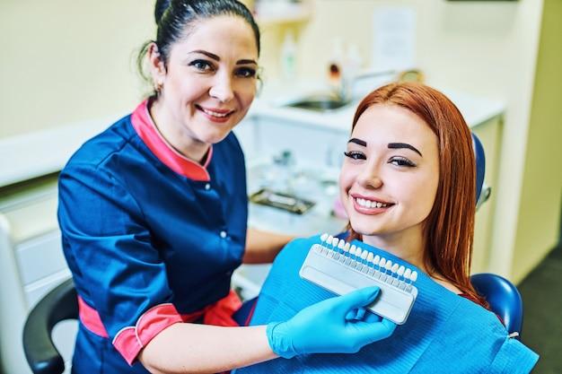 Dentiste examinant les dents d'un patient chez le dentiste
