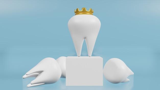 Les dents blanches sur bleu pour le rendu 3d de contenu médical et de santé
