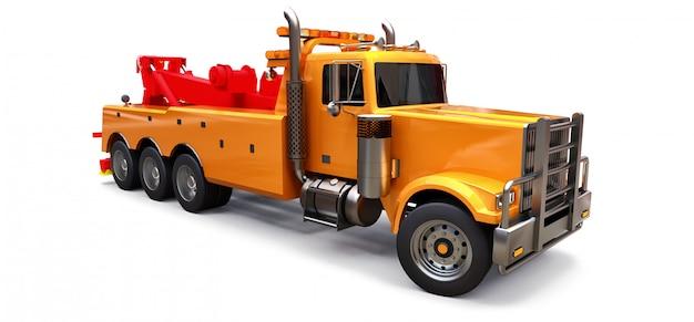 Dépanneuse cargo orange pour transporter d'autres gros camions