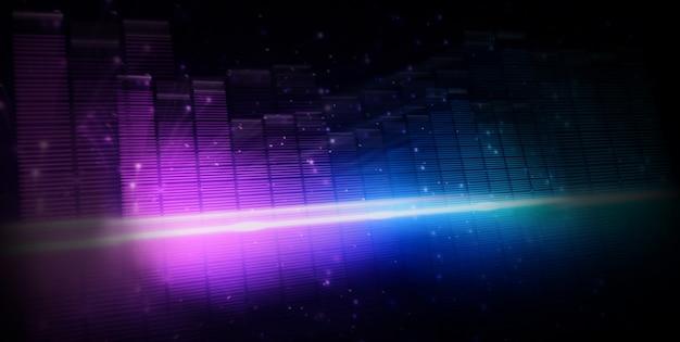 Déplacement de la barre d'égalisation de musique rapide. représentent un son plus profond et émotionnel dans le son de la musique. égaliseur de forme d'onde audio sur fond noir. résumé du visualiseur. graphique numérique se déplaçant et brillant dans l'obscurité.