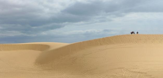 Le désert avec un ciel bleu avec des nuages dans la journée ensoleillée