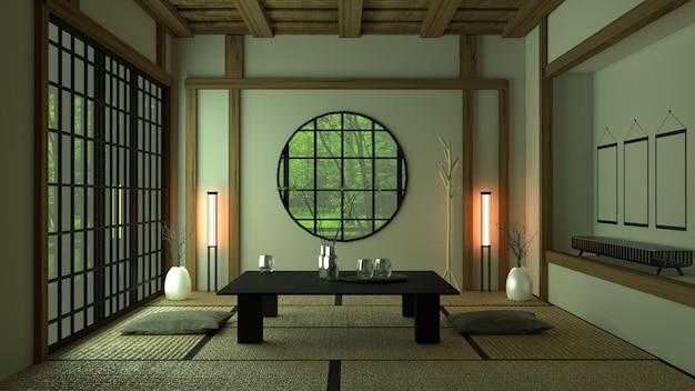 Design de chambre à la japonaise. rendu 3d